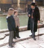 Major Charles Davis—city engineer of Bath, England, in the late 1800s—was portrayed by Andrew Ashmore in February 2001 at the Roman Bath site. Davis discovered the great Roman Bath while trying to solve a basement backup problem.