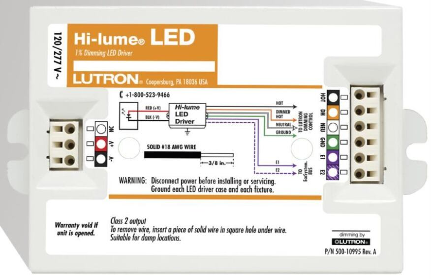 hi lume led driver by lutron electronics ecobuilding pulse lutron electronics the hi lume led driver is a high performance universal voltage product that provides energy efficient dimming from 100% to 1%