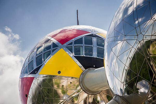 The Atomium in Brussels decorated in support of Belgium's soccer team at the World Cup.