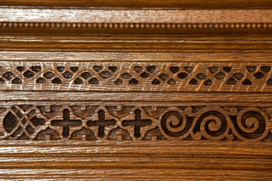 Detailing on the library fireplace.