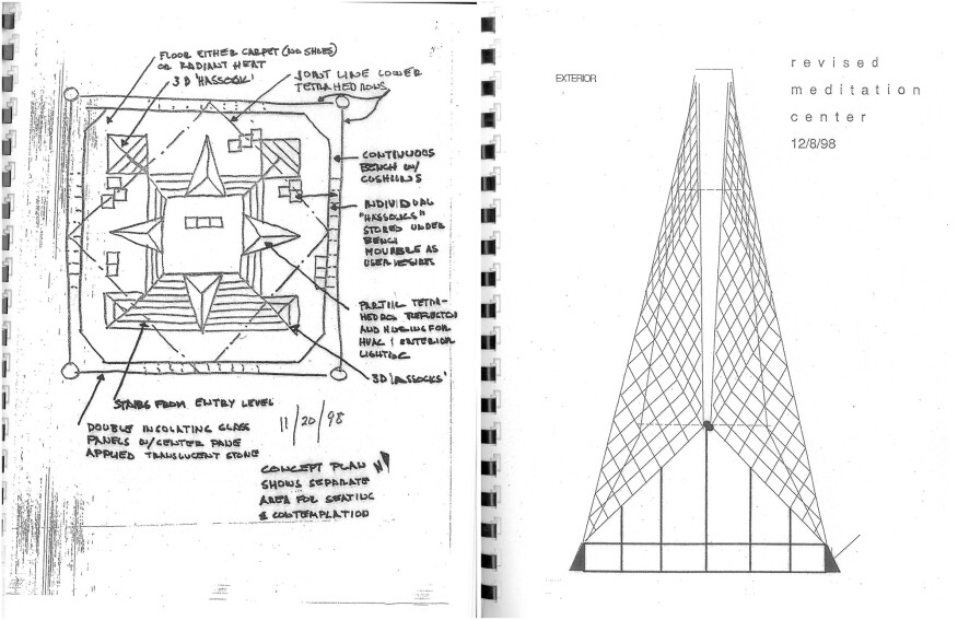 Netsch's 1998 concept for a proposed meditation chapel, which would have been located near the chapel