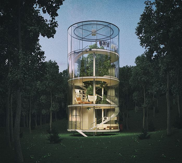 A.Masow Design Studio designed the Tree in the House project for site in a Kazakhstan forest.