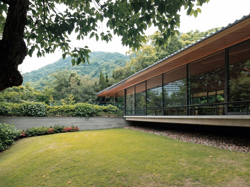 Most of the program for the urban Takenaka Carpentry Tools Museum is deftly tucked underground and surrounded with a verdant landscape.