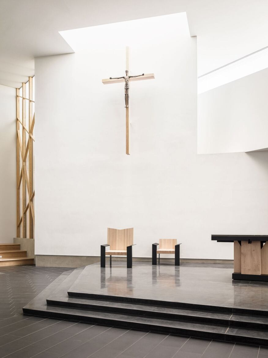 """Outside of the sanctuary, it's very bright. But in the sanctuary, we were very interested in calibrating how light would come in and down onto the altar,"" says Hsinming Fung."