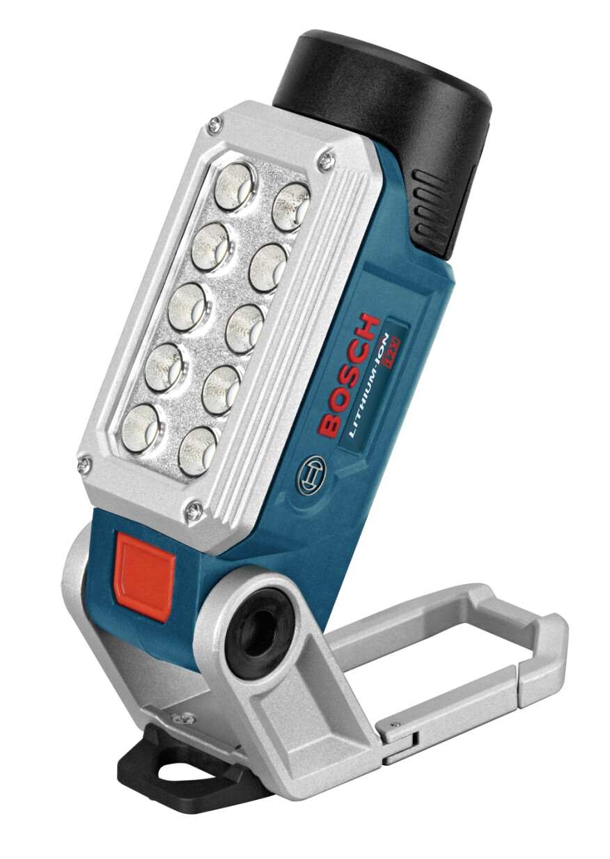 The compact Bosch 12V MAX LED Flashlight uses a removable rechargeable 12V lithium ion tool battery