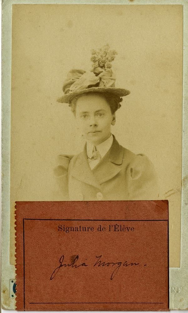 Julia Morgan's Beaux-Arts student ID, 1899.