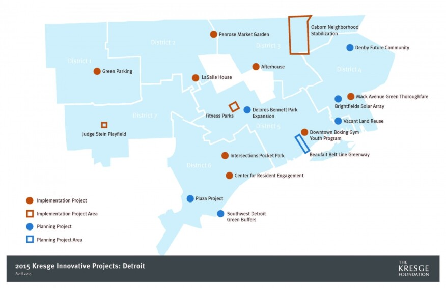 Each of Detroit's seven city-council districts has at least one implementation project.