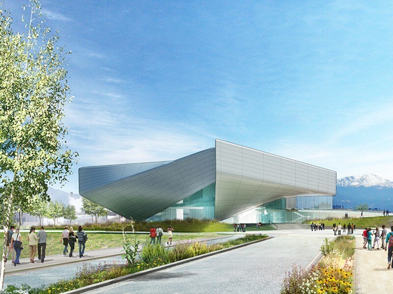 Preliminary Design Concept for the United States Olympic Museum: West Vermijo Avenue View.