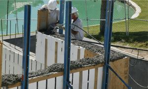 Insulating concrete forms are being used to build this single-family home.