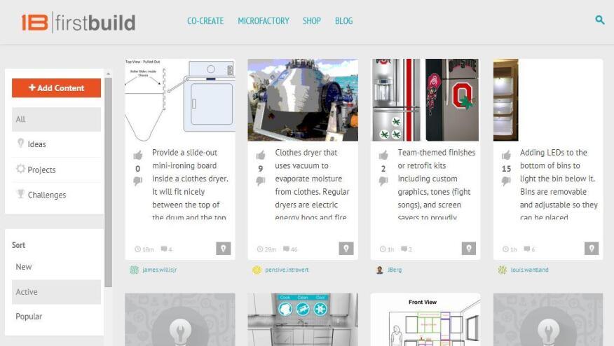 A screenshot of FirstBuild's online project portal.