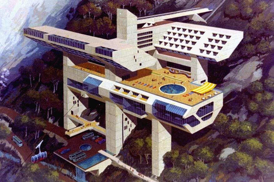 Miguel Rodrigo Mazuré (Peruvian, 1926–2014). (Peruvian, 1926–2014). Hotel in Machu Picchu, Machu Picchu (Project). 1969. Perspective.