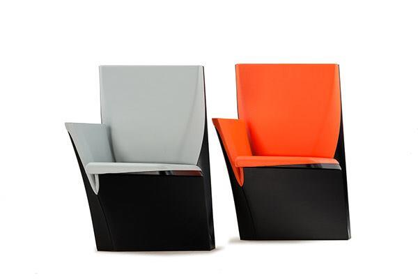 The Array seating collection—whose name comes from the concept of a matrix, or ordered pattern, found in the languages of computer science—uses geometry to create a visual effect that varies depending on the viewer's perspective. Designed by Zaha Hadid for Poltrona Frau Contract, the auditorium or theater seat folds diagonally upward when not in use to form a triangle with the back and base. Available this summer. poltronafraugroup.com