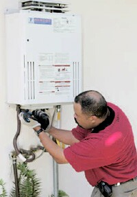 Tankless water heaters are only the size of a small suitcase.