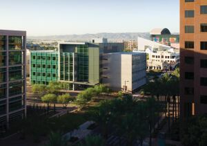 The Arizona Biomedical Collaborative sits on the Phoenix Biomedical Campus, which houses a mix of research and academic facilities in downtown Arizona.