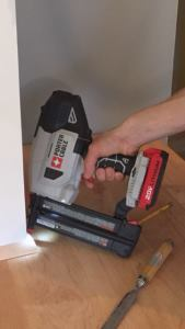 This cordless brad nailer packs a lot of punch - enough to drive brads effortlessly into maple quarter round, shown here.