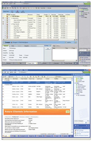Wes Phillips, of Bryant-Phillips Associates, uses a Microsoft Office Groove workspace to track all of his leads (bottom image). At a glance, he's able to view a lead's source, status, scope of work, and more. Phillips also uses Groove to create project schedules (top image), which are viewable by all employees and subs.