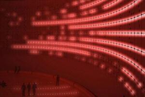 Kruunuvuori light art installation, an adaptive reuse of an existing oil silo.
