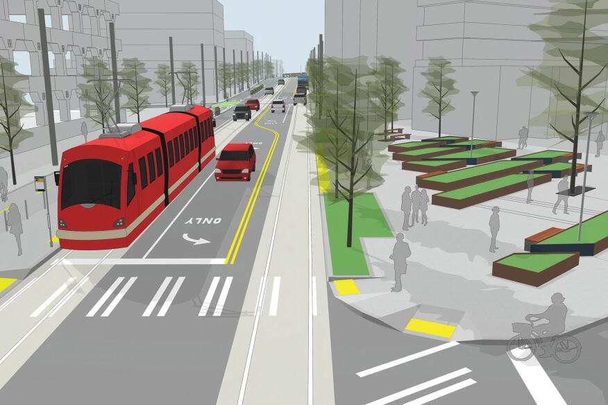 SketchUp rendering of Streetcar for the First Hill neighborhood in Seattle
