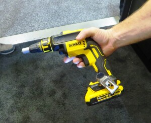 The gun is compact, especially when used with a 2.0 Ah battery. This is the preproduction model DeWalt was showing at STAFDA.