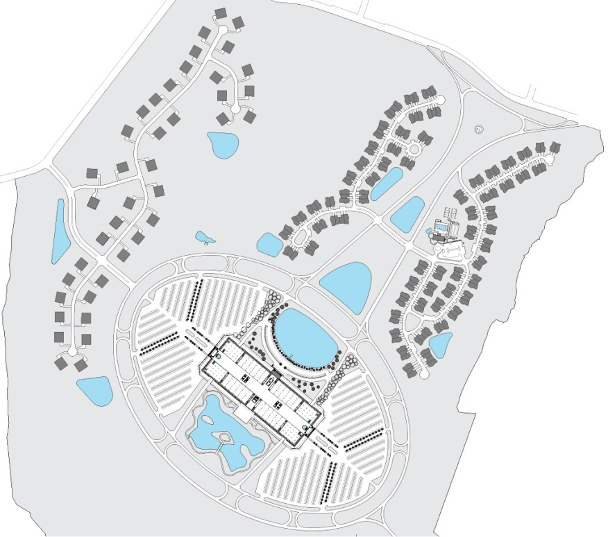 Current development scheme, showing the Toll Brothers houses