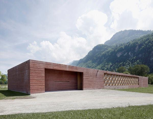 Islamic cemetery, by Bernardo Bader Architects. Entrance elevation. Altach, Austria.