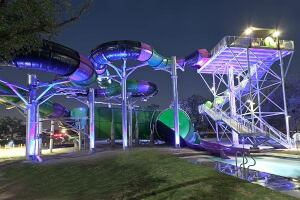 The neon glow of The Viper at NRH20 in suburban Fort Worth, Texas, looks extra exciting at night.