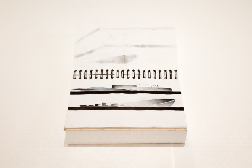 Hadid's notebooks on display at the exhibition