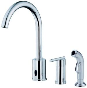TWO-SIDED: The Parma dual kitchen faucet operates with either a conventional single-control valve or a hands-free sensor. The unit is activated when hands are placed close to the sensor and turns off when hands are placed in front of the sensor a second time. It also can be programmed to turn off after a set period of time. It comes in polished chrome and stainless steel. Danze. 877-530-3344. www.danze.com.