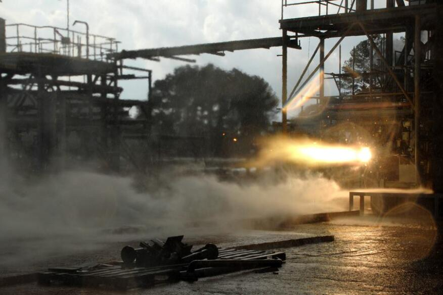 A 3D-printed rocket part blazes to life during a hot-fire test.