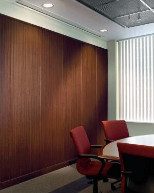 WoodWorks Ekos wall system    Armstrongwww.armstrong.com  Real-wood veneer is paired with an acoustical and sustainable substrate - No added urea formaldehyde in the adhesives, coating, or core - Emits no detectable VOCs - Substrate contains high recycled content - Mineral fiber core can be recycled with manufacturer - Available in four finishes with a variety of decorative wood and metal accessories