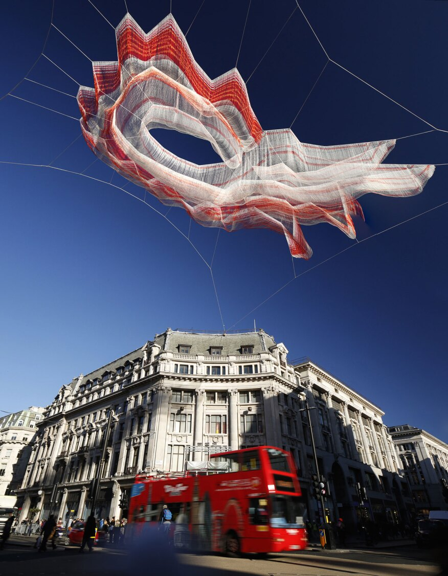 "Echelman's 2015 London installation titled ""1.8"" as seen during the day."