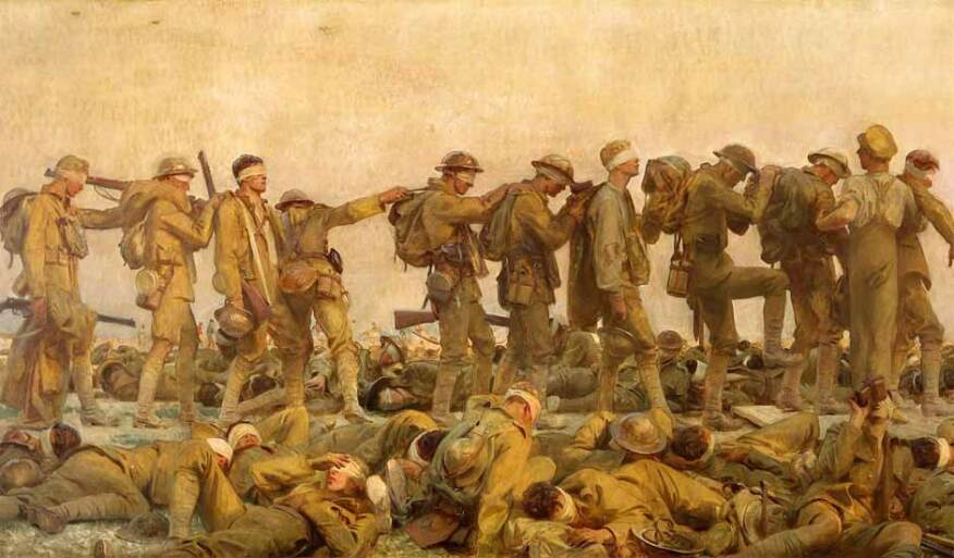 Gassed, a monumental 1919 painting by Anglo-American artist John Singer Sargent, depicts the aftermath of a chemical-weapons attack during the First World War.