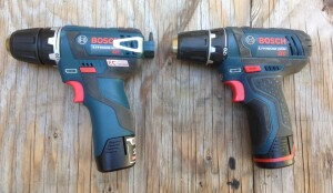 The new drill/driver (left) is similar to the earlier model (right)—though as you can see, it has a belt clip, bit storage, and considerably less rubber overmolding.