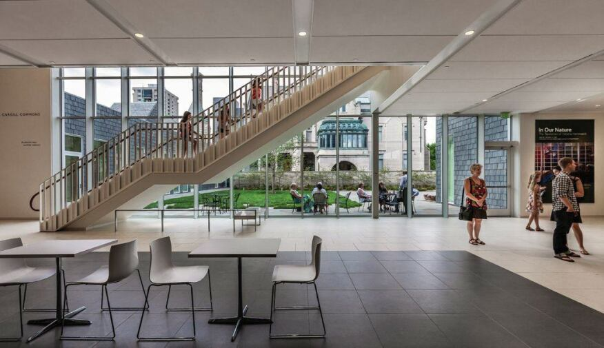 Low-emitting materials were chosen throughout the building, and more than 95 percent of construction waste was diverted from landfill. Open space was a major design goal.