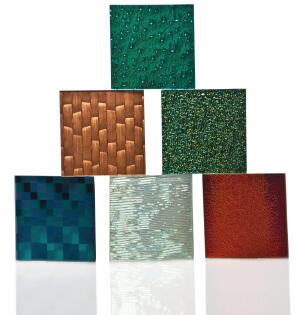 "The Modono Glass Tile Collection is manufactured using dichroic thin-film technology to manage the transmission, reflection, and absorption of specific light wavelengths to produce a color-changing tile. The collection comes in sizes from 3"" by 3"" to 12"" by 28"" in four series, each with a variety of color and pattern options. ¢ modonoglass.com"