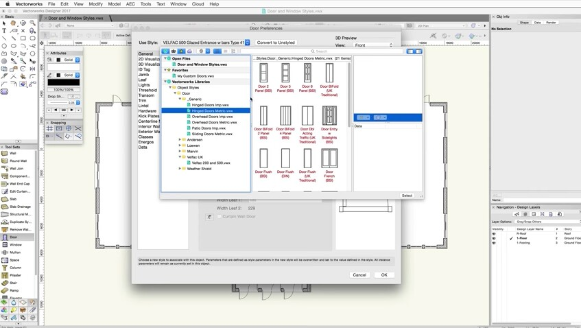 Defining door and window styles in Vectorworks 2017