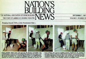 PRESIDENTIAL PARTNER: A newspaper clipping from 1987 shows John Crosland (in shorts) working on a  home with Jimmy and Rosalynn Carter during a weeklong Habitat for Humanity  building blitz in Charlotte, N.C.