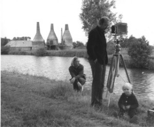 Bernd and Hilla Becher photographing an industrial landscape circa 1970s.