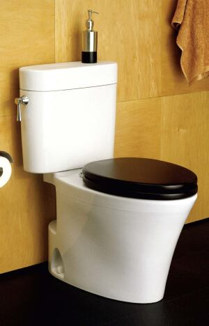 Eco Nexus 1.28 gpf high-efficiency toilet    Toto USAwww.totousa.com  E-Max flushing system uses high head pressure to maximize flow rate - Fill valve provides water height necessary to produce extra pressure - Wide 3-inch flush valve prevents clogging 2 1/8-inch glazed computerdesigned trapway - Quiet siphon-jet action - Uses gravity-fed flushing and standard trip lever