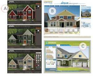 FAST TRACK: Web tools like the Design Showcase from Alside (A), the Dream Designer from Exterior Portfolio by Crane (B), and the Exterior Design Center by James Hardie (C) allow pros and consumers to see dozens of siding and accent options instantly.