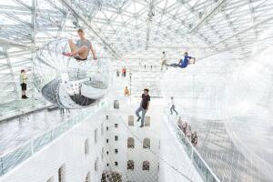 """""""In Orbit"""" installation by Tomás Saraceno at the K21 Ständehaus."""