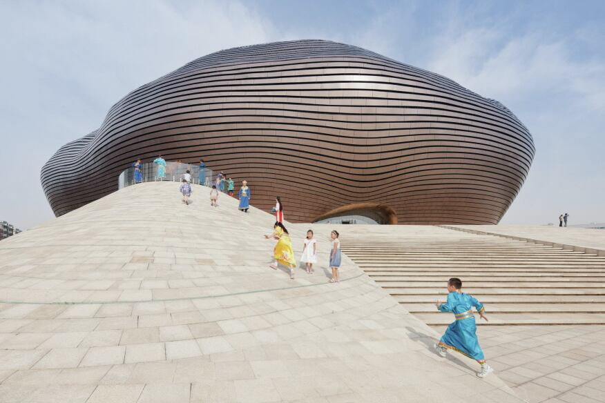 The Ordos Museum, designed by MAD Architects and completed in 2011. The building was intended to be the centerpiece of Kangbashi.