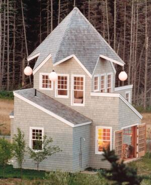 "bright buoy  ""[This] building is meant to be a folly reminiscent of a jester's hat, so the dangling balls aid that imagery,"" Tittmann says of this coastal Maine home. Mooring buoys as eave lanterns aren't a common spec for Tittmann's firm, but they seemed appropriate here, he says. The whimsical transformation entailed dropping a light bulb through the hole in the buoy's neck. Hamilton Marine, 800.639.2715; www.hamiltonmarine.com."