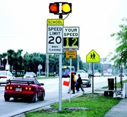 Interactive driver feedback signs alert drivers to school zones and pedestrian  crossings. Safe Routes to School funds also can help with crossing guard  programs.
