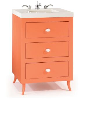 Amuse is the latest addition to Waterfall's environmentally sensitive bath vanity line. Made from FSC-certified woods and low-VOC paints, the 24-inch-wide unit has two drawers and a tilt-out compartment. Shown here in Sunset—one of 13 available colors—it