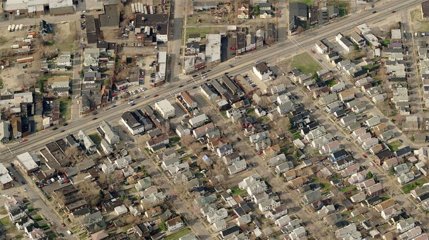 An aerial of the St. Clair-Superior neighborhood on Cleveland's east side, where the CUDC's design/REbuild project renovated its first house