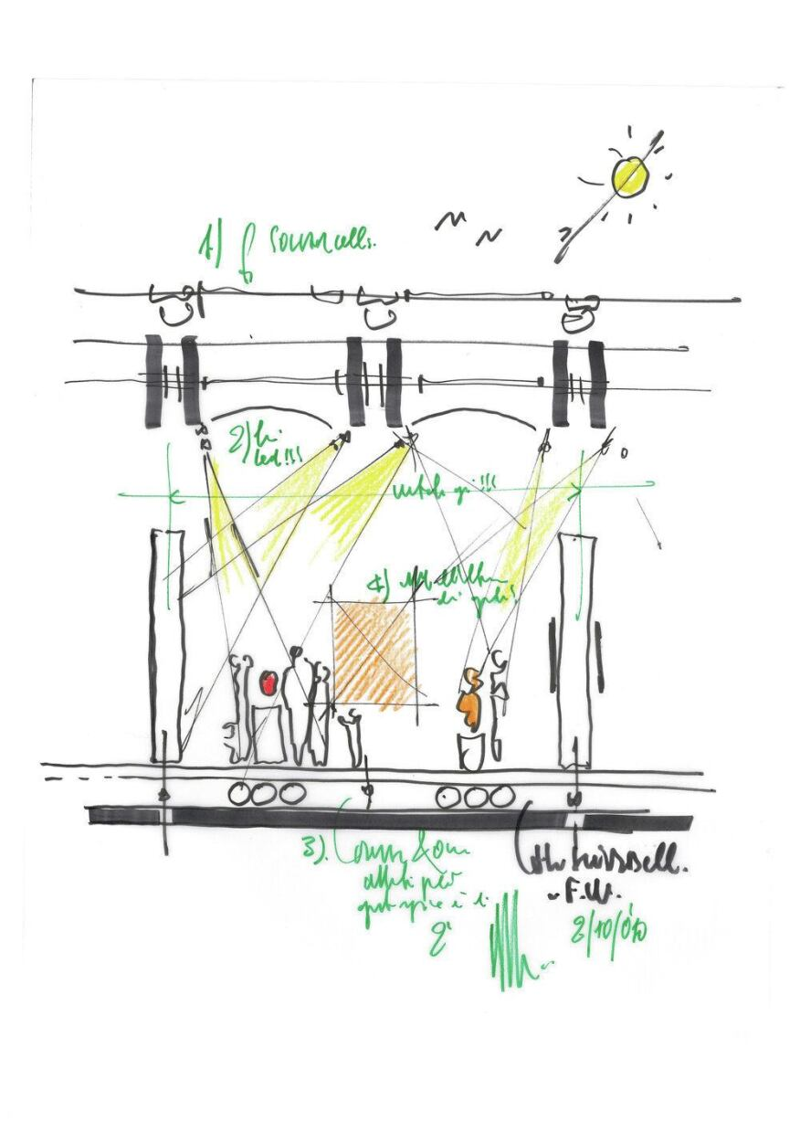 Sketch by Renzo Piano of the gallery lighting design concept for the new Renzo Piano Pavilion at the Kimbell Art Museum.