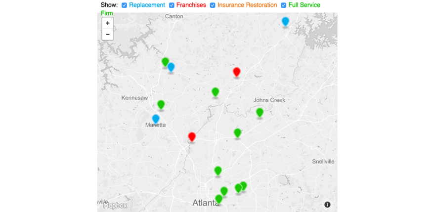 Map showing Atlanta area companies in the 2016 Remodeling 550