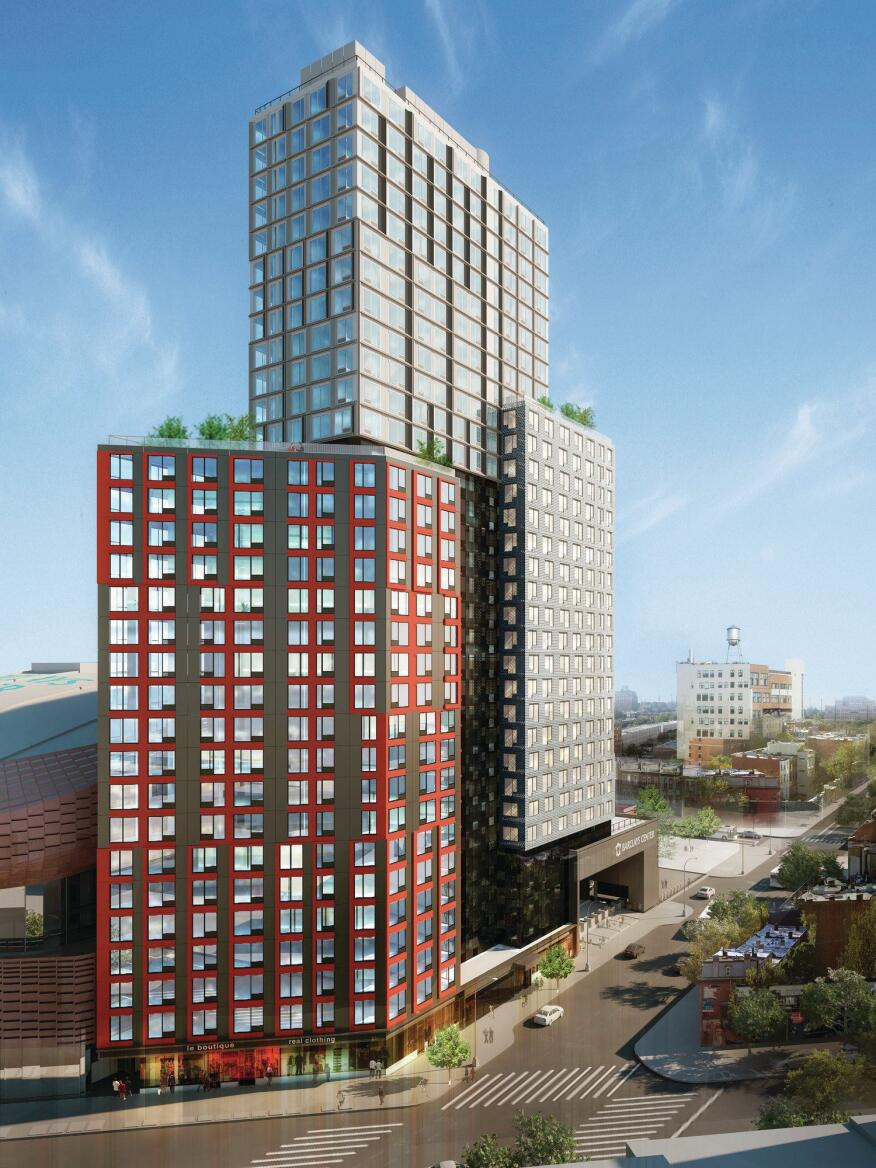 B2, SHoP's modular residential tower under construction in Atlantic Yards in Brooklyn.