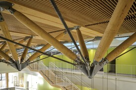 A Suspended Shading System Made From Wood Architect Magazine Wood Design Build